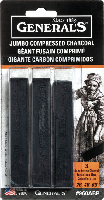Jumbo Compressed Charcoal Sticks 3/Pkg-Black 2B, 4B & 6B -960ABP - 044974096003
