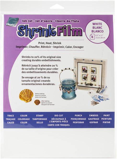 "Grafix Ink Jet Shrink Film 8.5""X11"" 6/Pkg-White -KSF6-WIJ - 096701137770"