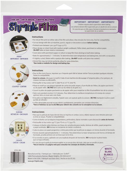 "Grafix Ink Jet Shrink Film 8.5""X11"" 6/Pkg-White -KSF6-WIJ"