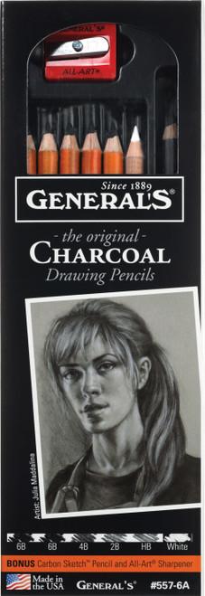 Charcoal Pencil Set 6/Pkg-Assorted Degrees -557-6A - 044974557061