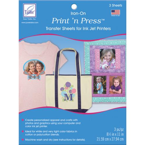 "June Tailor Print'n Press Iron-On Transfer Paper 3/Pkg-White, 8.5""X11"" -JT908 - 730976090803"