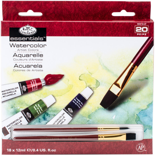 essentials(TM) Watercolor Paints 12ml 20/Pkg-Assorted Colors -WAT18 - 090672027825