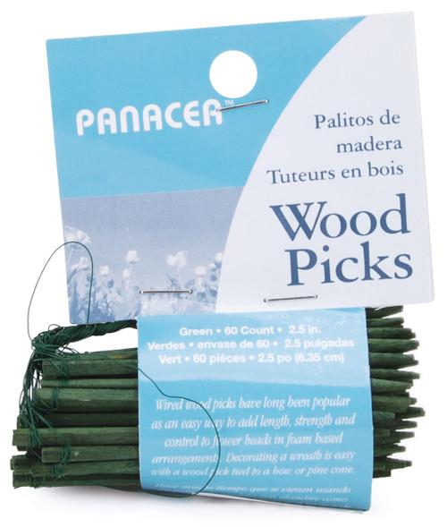 """Wood Picks 2.5"""" 60/Pkg-Green -60042 - 093432600429"""
