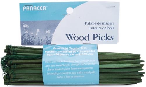 """Wood Picks 6"""" 60/Pkg-Green -60046 - 093432600467"""