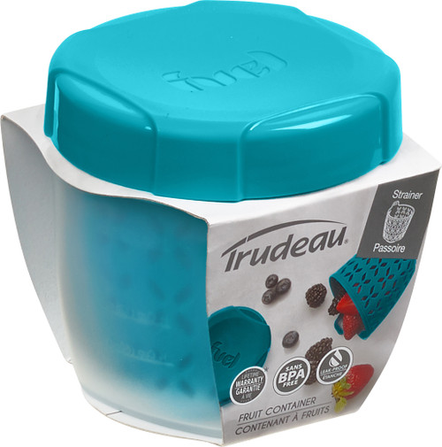 """Fruit Container W/Integrated Strainer 3.5""""X4""""X3.5""""-Blue -38809326 - 063562638975"""