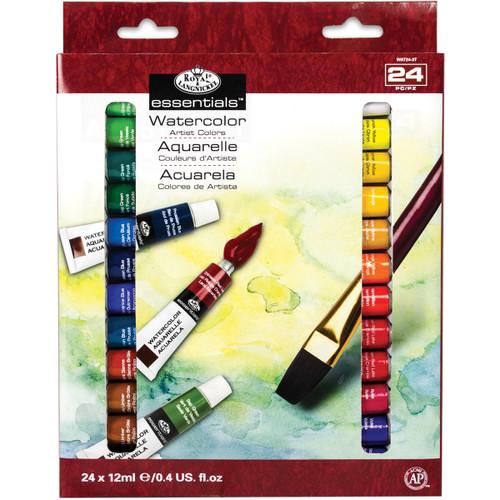 essentials(TM) Watercolor Paints 12ml 24/Pkg-Assorted Colors -WAT24 - 090672066640