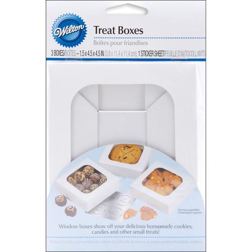 """Treat Boxes-White 4.5""""X4.5""""X1.5"""" 3/Pkg -W415102 - 070896415165"""