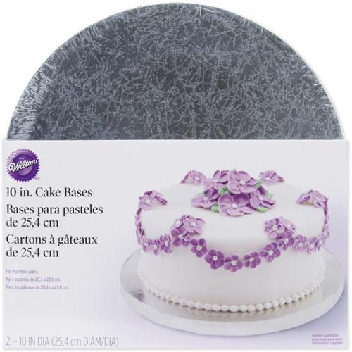 "Cake Bases-10"" Round Silver 2/Pkg -W41187 - 070896411877"