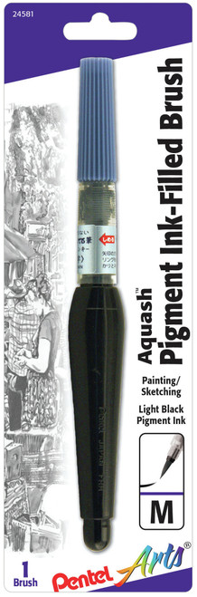 Pentel Arts Aquash Water Brush W/Pigment-Medium Point -FRHMNBPA - 072512245811