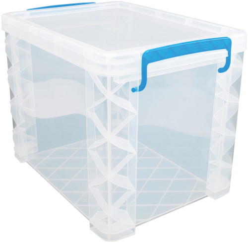"Storage Studios Super Stacker File Box-14.5""X10.5""X11.25"" Clear/Blue Handles -SS36872"