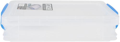 "Storage Studios Super Stacker Doc Box-14.5""X10.5""X3.38"" Clear/Blue Handles -SS36873 - 091141368739"