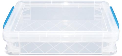 "Storage Studios Super Stacker Doc Box-14.5""X10.5""X3.38"" Clear/Blue Handles -SS36873"
