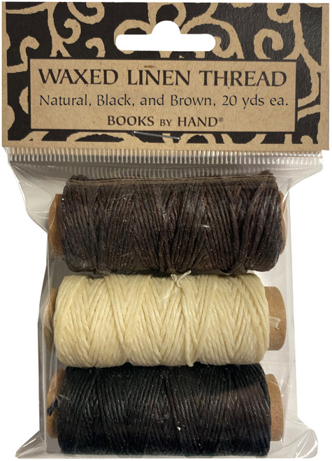 Lineco Waxed Linen 5 Ply Thread 3/Pkg-Natural, Brown, Black; 20yds Each -BBHM891 - 099295005418