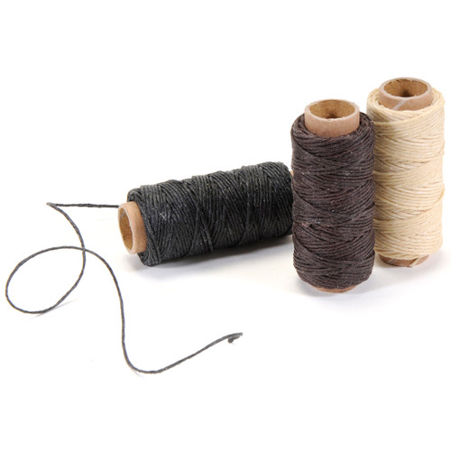 Lineco Waxed Linen 5 Ply Thread 3/Pkg-Natural, Brown, Black; 20yds Each -BBHM891