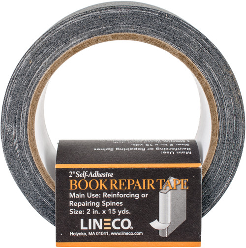 """Lineco Self-Adhesive Book Repair Tape-Black 2""""X15yd -5501505 - 099295533263"""