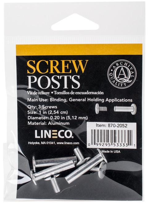 "Lineco Bookbinding Aluminum Screw Posts 3/Pkg-1"" -8702052 - 099295533331"