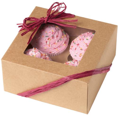 Cupcake Boxes-4 Cavity Kraft 3/Pkg -W4150953