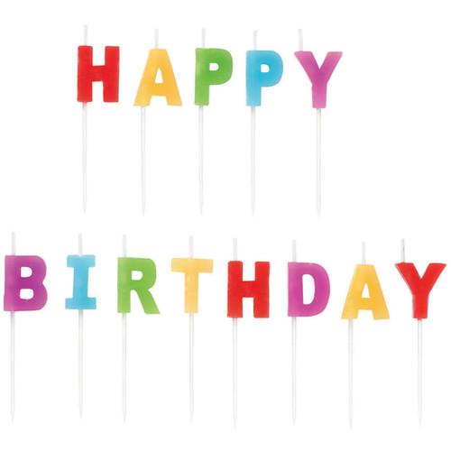"Candle Pick Set 3""-Happy Birthday Rainbow 13/Pkg -W2811-7-702"