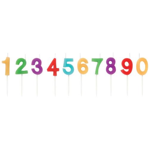 "Candle Pick Set 3""-Numerals Rainbow 10/Pkg -W2811-7-701"