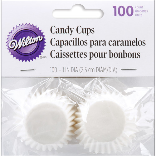 """Candy Cups-White 100/Pkg 1"""" -W1243 - 070896192431"""