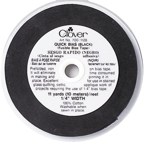 """Clover Quick Bias Fusible Bias Tape .25""""X11yd-Black -700-BLK - 051221508905"""