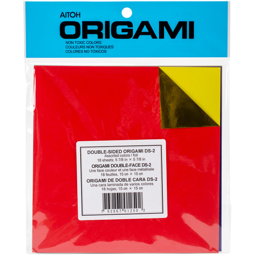 """Origami Paper 5.875""""X5.875"""" 18/Pkg-Assorted Foil/Solid Double-Sided -DS-2 - 762867012502"""