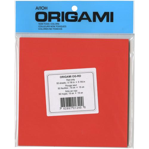 """Origami Paper 5.875""""X5.875"""" 50/Pkg-Red -OG-RD - 762867013400"""