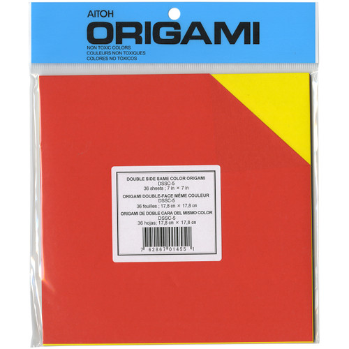 """Origami Paper 7""""X7"""" 36/Pkg-Assorted Double Sided Colors -DSSC-5 - 762867014551"""