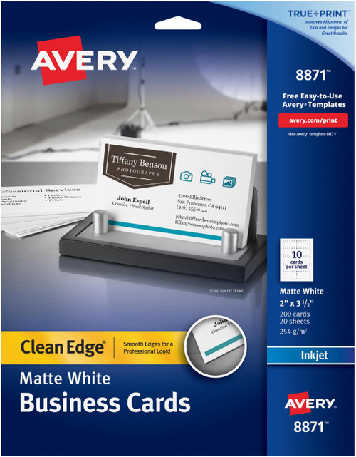"""Avery Matte White Clean Edge Business Cards 2""""X3.5"""" 200/Pkg-For Inkjet Printers, Two-Side Printable -8871 - 072782088712"""