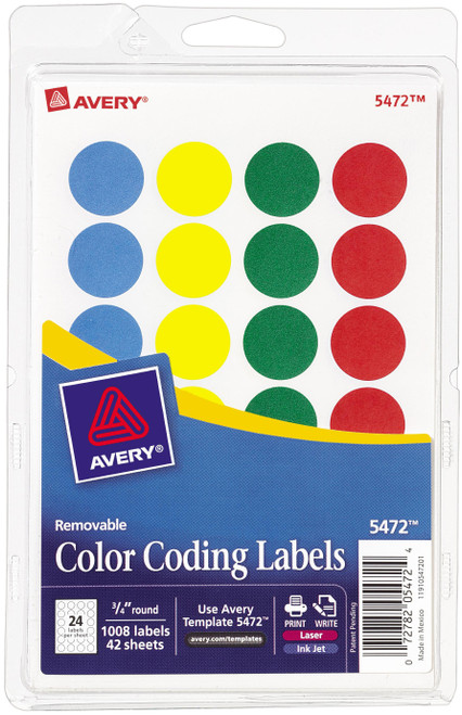 Avery Print/Write Self-Adhesive Removable Labels 1008/Pkg-Assorted (Blue, Green, Red, Yellow) -AV5472 - 072782054724