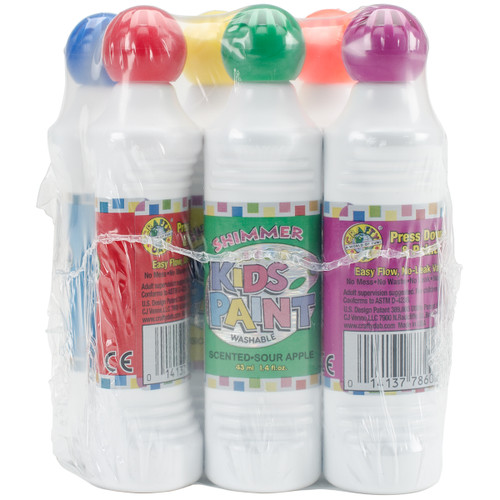 Kid's Scented Shimmer Paint Markers 1.4oz 6/Pkg-Assorted Scents & Colors -78721 - 014137787215