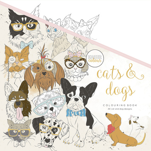 """KaiserColour Perfect Bound Coloring Book 9.75""""X9.75""""-Cats & Dogs -CL539 - 9781925405392"""
