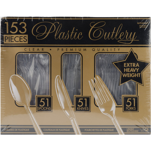 Extra Heavy Weight Plastic Cutlery 153/Pkg-Clear -4390786 - 048419389699