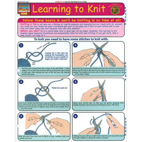 Quick Study Reference Guide-Learning To Knit -QS-28559 - 6546142085529781572228559