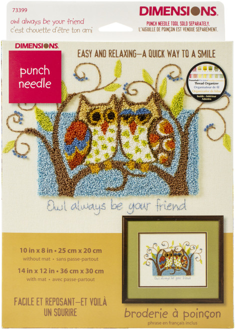 """Dimensions Punch Needle Kit 10""""X8""""-Owl Always Be Your Friend -73399 - 088677733995"""