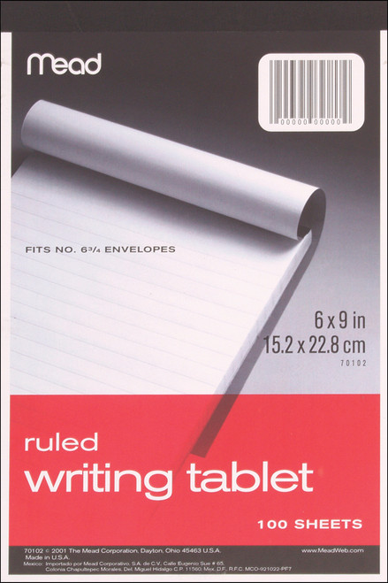 """Mead Ruled Writing Tablet 6""""X9""""-White, 100 Sheets -70102 - 043100701026"""