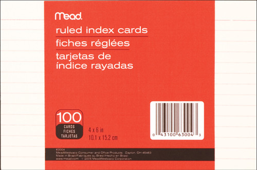 """Mead Index Cards 4""""X6"""" 100/Pkg-Ruled White -63004M - 043100630043"""