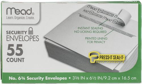 """Mead Boxed Peel & Stick Envelopes 3.625""""X6.5"""" 55/Pkg-Security #6 -75030 - 043100750307"""