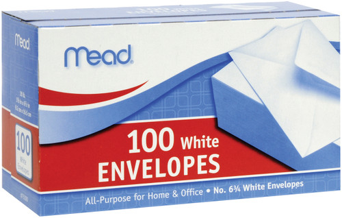 "Mead Boxed Envelopes 3.625""X6.5"" 100/Pkg-Regular #6 -75100 - 043100751007"