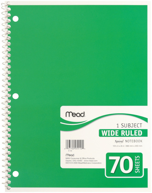 """Mead 1 Subject Wide Ruled Spiral-Bound Notebook 10.5""""X8""""-70 Sheets -05510 - 043100055105"""