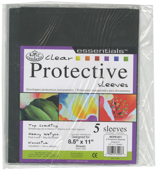 """Clear Protective Sleeves 5/Pkg-8.5""""X11"""" -RCPS811 - 090672352033"""
