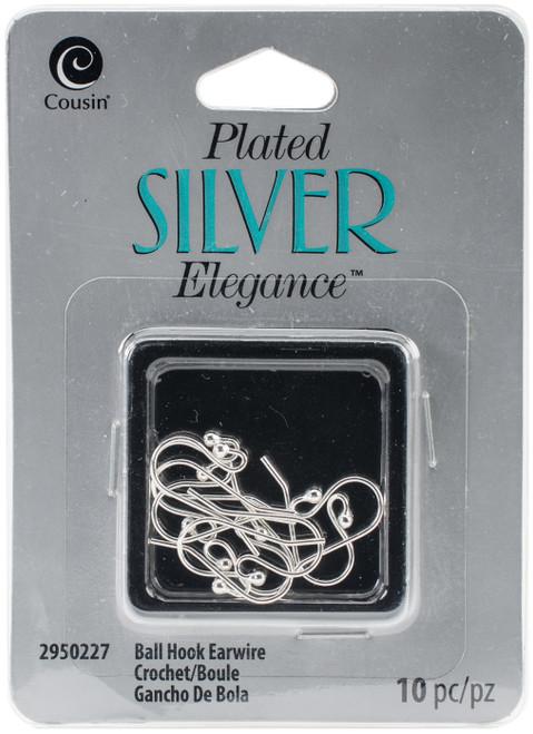 Plated Silver Elegance Metal Findings-Ball Hook Wires 10/Pkg -295SLVPL-0227 - 016321079083