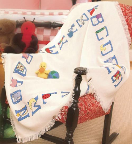 "Charles Craft Baby Alphabet Afghan 18 Count 41""X45""-White -AF7311-6750"