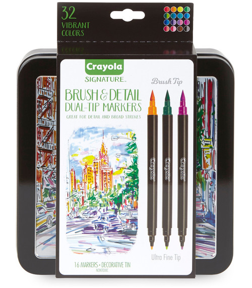 Crayola Signature Brush & Detail Dual-Tip Markers W/Tin-Assorted Colors 16/Pkg -58-6501 - 071662065010