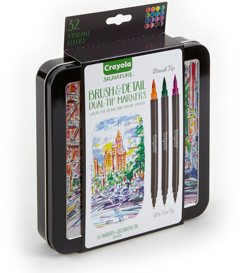 Crayola Signature Brush & Detail Dual-Tip Markers W/Tin-Assorted Colors 16/Pkg -58-6501