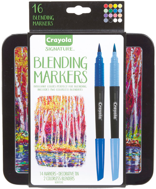 Crayola Signature Blending Markers W/Tin-Assorted Colors 14/Pkg -58-6502 - 071662165024