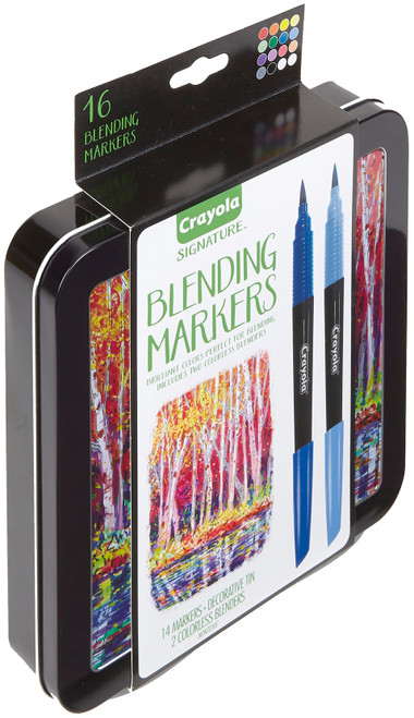 Crayola Signature Blending Markers W/Tin-Assorted Colors 14/Pkg -58-6502