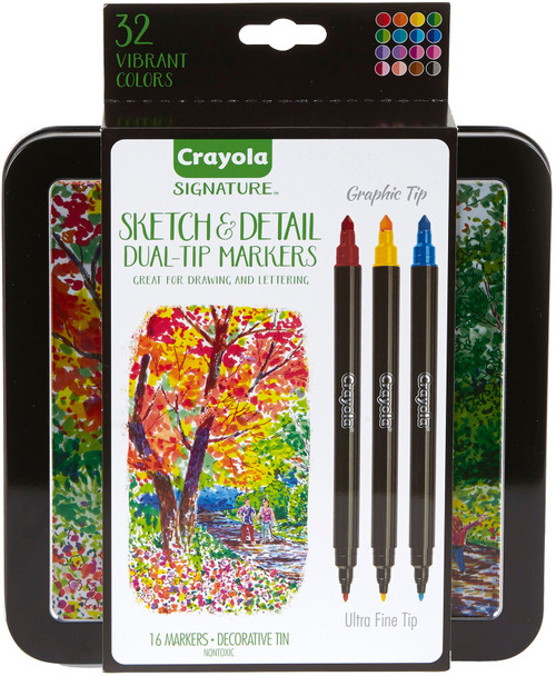 Crayola Signature Sketch & Detail Dual-Tip Markers W/Tin-Assorted Colors 16/Pkg -58-6511 - 071662065119