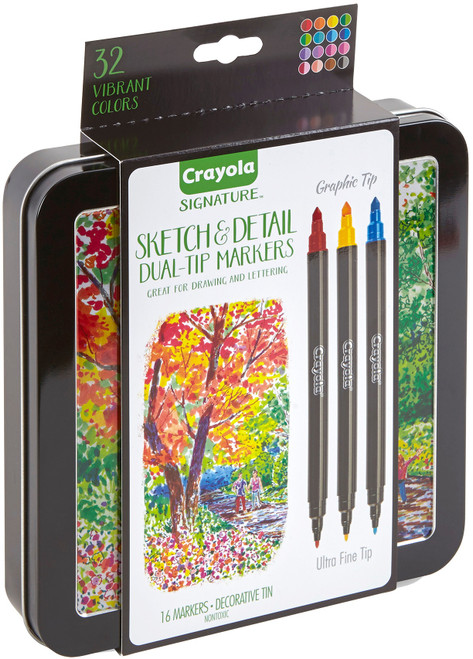 Crayola Signature Sketch & Detail Dual-Tip Markers W/Tin-Assorted Colors 16/Pkg -58-6511