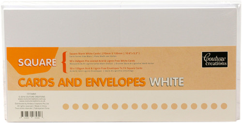 """Couture Creations Square Cards W/Envelopes 50/Pkg-White, 5.3""""X5.3"""" Folded -CO724845 - 9332839035306"""